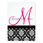 Hochzeits-Einladungs-Monogramm-Schwarz-Rosa-Damast 12,7 X 17,8 Cm Einladungskarte