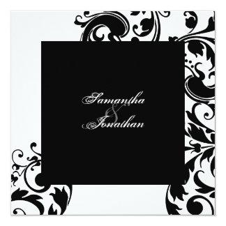 Hochzeits-Einladungs-schwarzes u. weißes elegantes Quadratische 13,3 Cm Einladungskarte