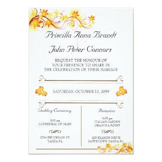 Hochzeits-Einladungs-Zeremonie, Herbstlaub-Thema 2 Karte