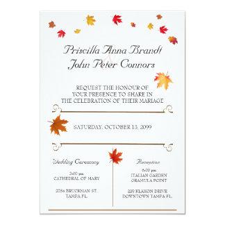 Hochzeits-Einladungs-Zeremonie, Herbstlaub-Thema 4 Karte