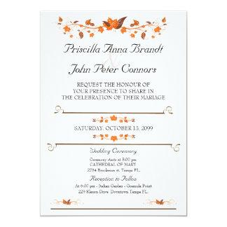 Hochzeits-Einladungs-Zeremonie, Herbstlaub-Thema Karte