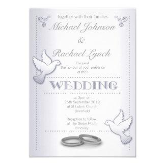 Hochzeits-EinladungVintage silberne Lovebirds Karte