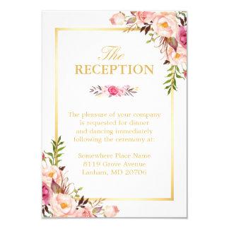Hochzeits-Empfangeleganter Chic-Blumengoldrahmen Karte