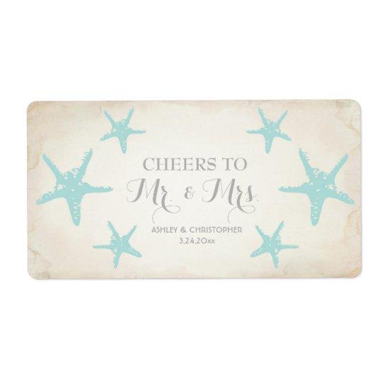 Hochzeits-Empfangs-Minichampagne-AufkleberStarfish