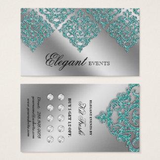 Hochzeits-Ereignis-Planer-Damast-Silber-aquamarine Visitenkarte