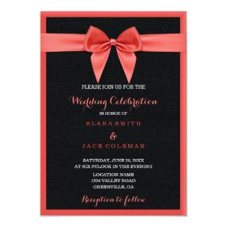 Hochzeits-Feier-Schwarz-Leder mit rosa Bogen Karte