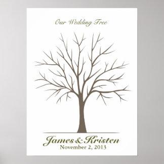 Hochzeits-Fingerabdruck-Baum - Klassiker Poster