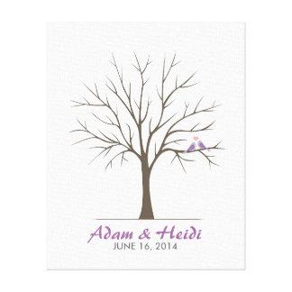 Hochzeits-Fingerabdruck-Baum - Liebe-Vögel - lila Gespannte Galerie Drucke