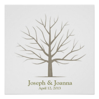 Hochzeits-Fingerabdruck-Baum - Quadrat Poster