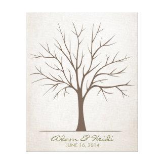Hochzeits-Fingerabdruck-Baum - rustikal Leinwanddruck