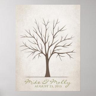 Hochzeits-Fingerabdruck-Baum - rustikal Poster