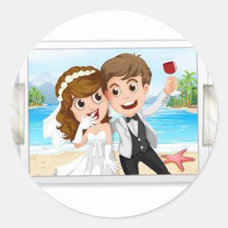 Hochzeits-Foto Runder Aufkleber