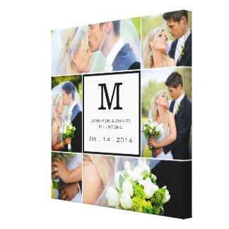 Hochzeits-Foto-Collagen-Schablone mit Monogramm Gespannter Galeriedruck