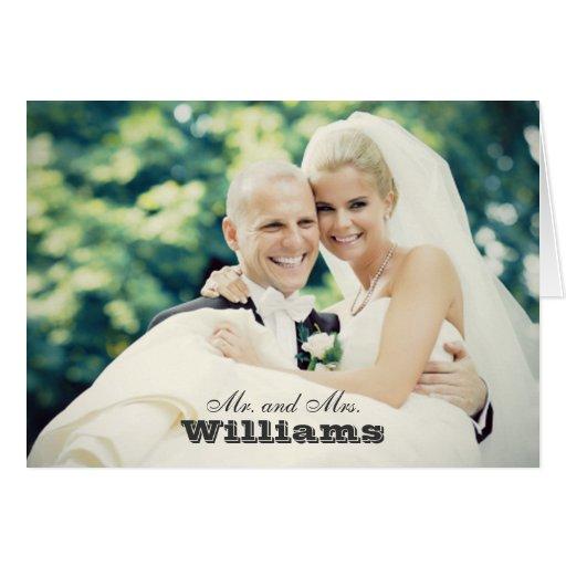 Hochzeits-Foto danken Ihnen Mitteilungskarten-| ge Grußkarten