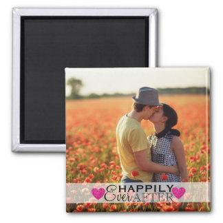 Hochzeits-Foto glücklich überhaupt nach rosa Quadratischer Magnet