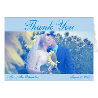 Hochzeits-Foto Horiz. Blue Custom danken Ihnen Karte