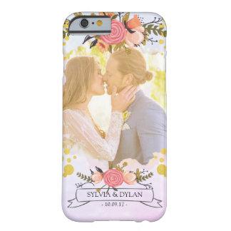 Hochzeits-Foto-modernes Blumengoldfolien-Monogramm Barely There iPhone 6 Hülle