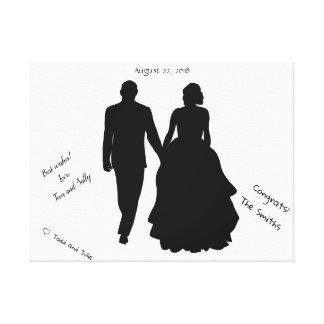 Hochzeits-Gast-Buch-Paar-Silhouette-Leinwand Leinwanddruck
