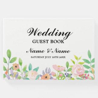 Hochzeits-Gast-Buch-Wasserfarbe-BlumenEmpfang Gästebuch