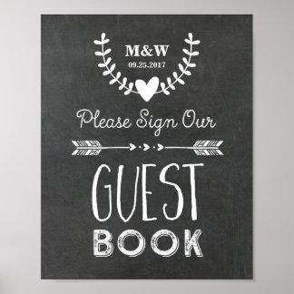 Hochzeits-Gast-Buch-Zeichen-Tafel-Herz-Pfeile Poster