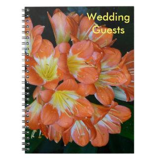 Hochzeits-Gast-orange Blumen-Notizbuch Notizblock