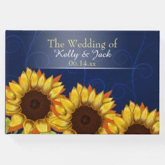 Hochzeits-Gastbuch der Sonnenblume blaues Gäste Buch