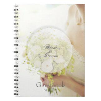 Hochzeits-Gastbuch des Braut-Blumenblumenstraußes Spiral Notizblock