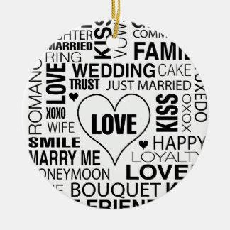 Hochzeits-Geschenk-Braut-Bräutigam-Liebe fasst Keramik Ornament