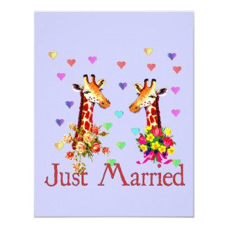 Hochzeits-Giraffen 10,8 X 14 Cm Einladungskarte