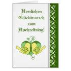 Hochzeits-Glückwunsch-Blumenherz-Vogel-Deutscher Karte
