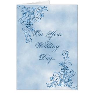 Hochzeits-Glückwunsch-Karte: Himmel-Blau-Eleganz Karte