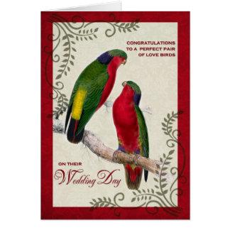 Hochzeits-Glückwünsche Vintage Lorikeet Papageien Karte