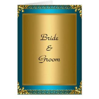 Hochzeits-Goldaquamarine Braut und -bräutigam Grußkarte