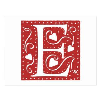 Hochzeits-Herz-Buchstabe E Postkarte