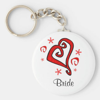 Hochzeits-Herz Standard Runder Schlüsselanhänger