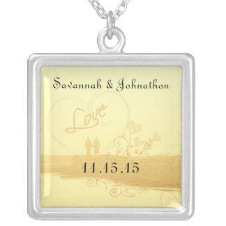 Hochzeits-Herz-Strand-Jahrestags-Halskette Halskette Mit Quadratischem Anhänger