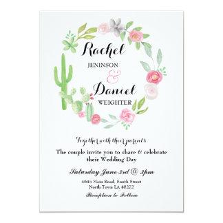 Hochzeits-Kaktus-Fiestawreath-Party laden Blumen Karte