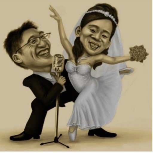 Hochzeits-Karikatur Photostatuen