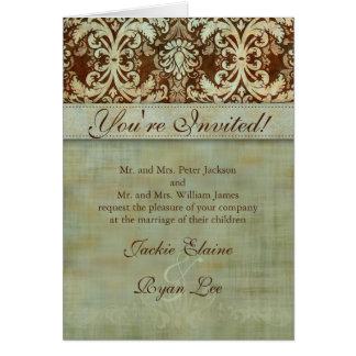 Hochzeits-Karten-Damast-Brown-grünes Vintages