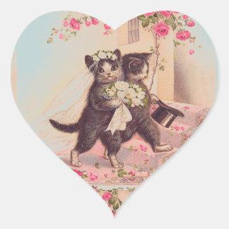 Hochzeits-Katzen Braut und Bräutigam-Liebe Herz Sticker