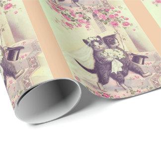 Hochzeits-Katzen mit Pfirsich-Streifen Geschenkpapier