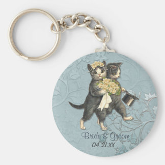Hochzeits-Katzen Standard Runder Schlüsselanhänger