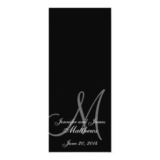 Hochzeits-Kirchen-Programm-Monogramm-Schwarzes u. 10,2 X 23,5 Cm Einladungskarte