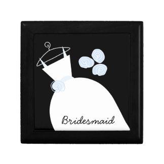 """Hochzeits-Kleiderblaues """"Brautjungfern"""" Schwarzes Kleine Quadratische Schatulle"""