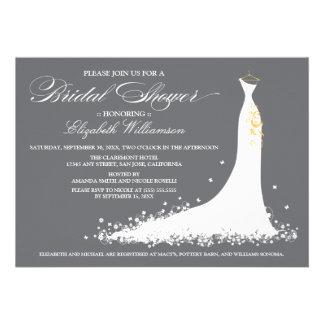 Hochzeits-KleiderBrautparty-Einladung grau