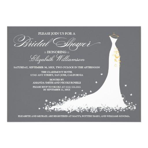 Hochzeits-KleiderBrautparty-Einladung (grau)