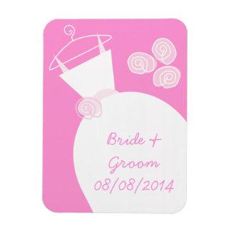 Hochzeits-Kleiderrosa 'Namen und Date Magnet