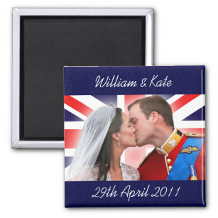 Hochzeits-Kuss-Magnet Williams u. Kate königlicher Quadratischer Magnet