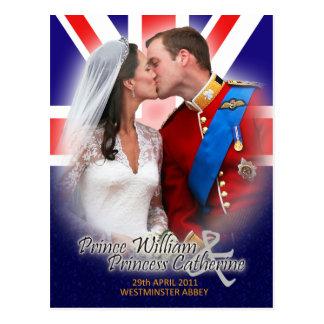 Hochzeits-Kuss-Postkarte Williams u. Kate königlic