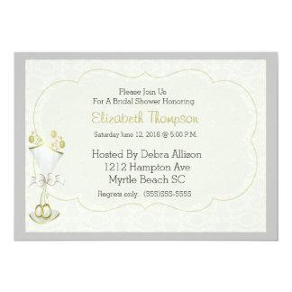 Hochzeits-laden sprudelndes Damast-GlasBrautparty 12,7 X 17,8 Cm Einladungskarte